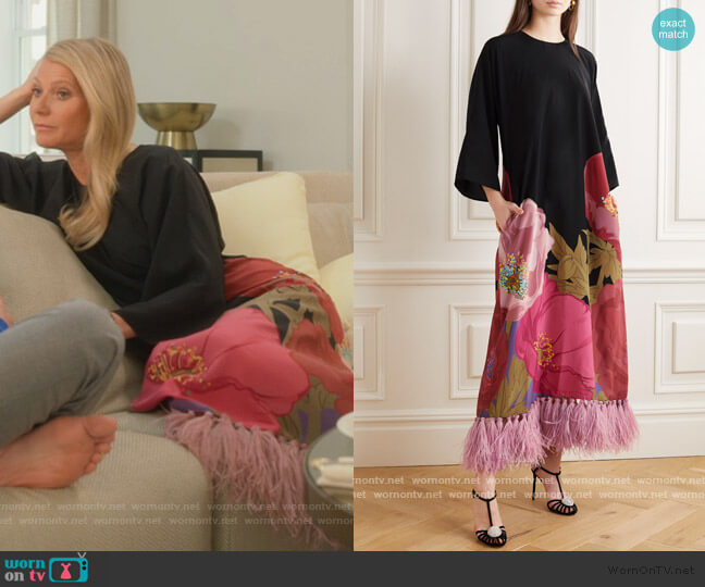 Feather-trimmed floral-print silk crepe de chine maxi dress by Valentino worn by Georgina Hobart (Gwyneth Paltrow) on The Politician