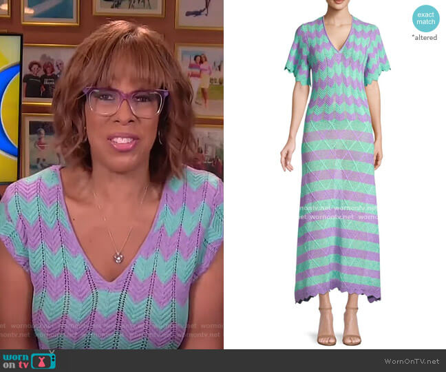 Short-Sleeve Striped Crochet Midi Dress by Victor Glemaud worn by Gayle King  on CBS This Morning