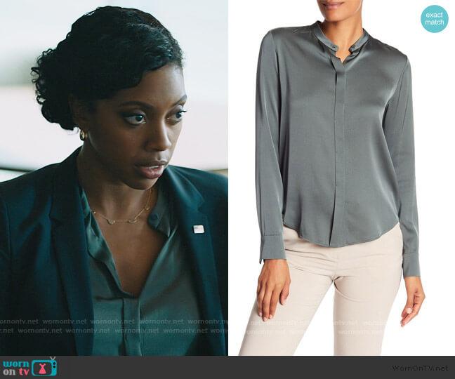 Band Collar Long Sleeve Silk Blouse by Vince worn by Kate Sacker (Condola Rashad) on Billions