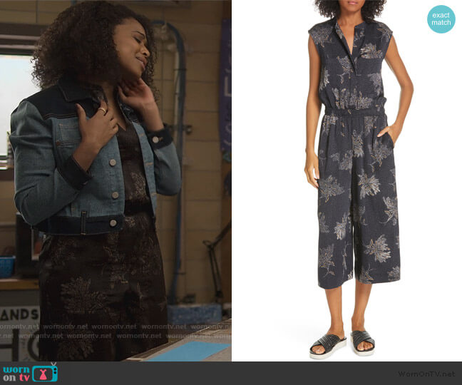 Woodblock Floral Sleeveless Jumpsuit by Vince worn by Ani (Grace Saif) on 13 Reasons Why