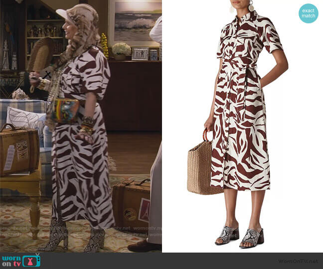 Graphic Zebra-Printed Shirt Dress by Whistles worn by Kimmy Gibbler (Andrea Barber) on Fuller House