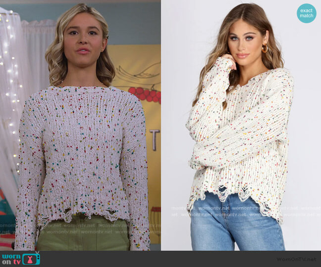 Cozy Cute Confetti Knit Sweater by Windsor worn by Katie Cooper (Isabel May) on Alexa & Katie