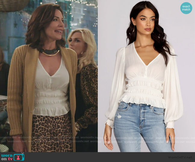 Vacay Now Smocked Waist Blouse by Windsor worn by Luann de Lesseps  on The Real Housewives of New York City
