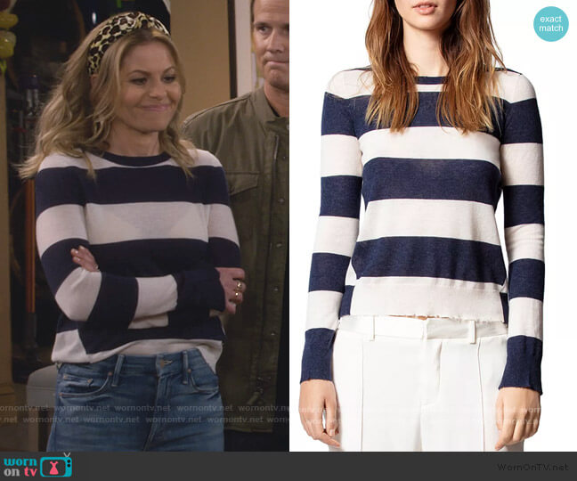 Striped Cashmere Sweater by Zadig and Voltaire worn by DJ Tanner-Fuller (Candace Cameron Bure) on Fuller House