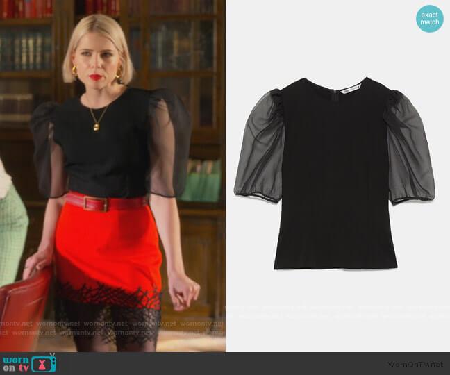 Organza Sleeve Top by Zara worn by Astrid (Lucy Boynton) on The Politician