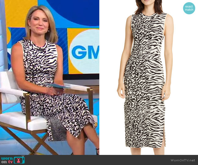 Zebra & Leopard Jacquard Midi Dress by Proenza Schouler White Label worn by Amy Robach  on Good Morning America