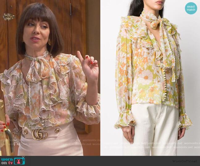 Super Eight Silk Blouse by Zimmermann worn by Elizabeth (Natasha Leggero) on Broke