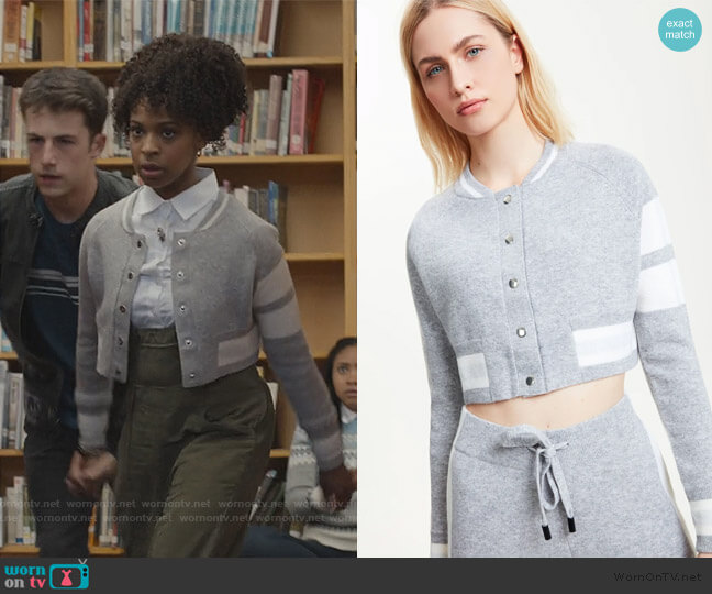Cropped Edison Cashmere Bomber by Zoe Jordan worn by Ani (Grace Saif) on 13 Reasons Why
