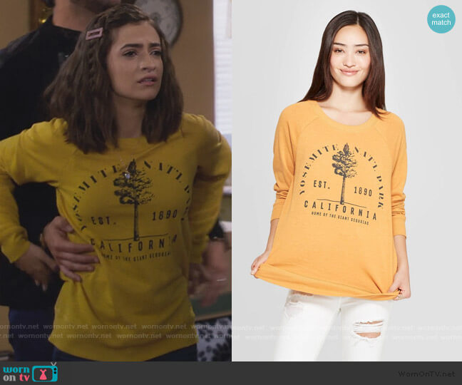 Yosemite National Park Graphic Sweatshirt by Target worn by Ramona Gibbler (Soni Nicole Bringas) on Fuller House