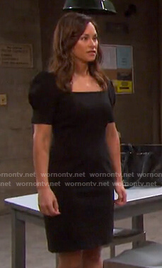 Zoey's black puff sleeve dress on Days of our Lives