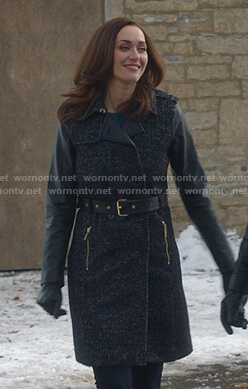 Abigail's tweed trench coat with leather sleeves on Good Witch