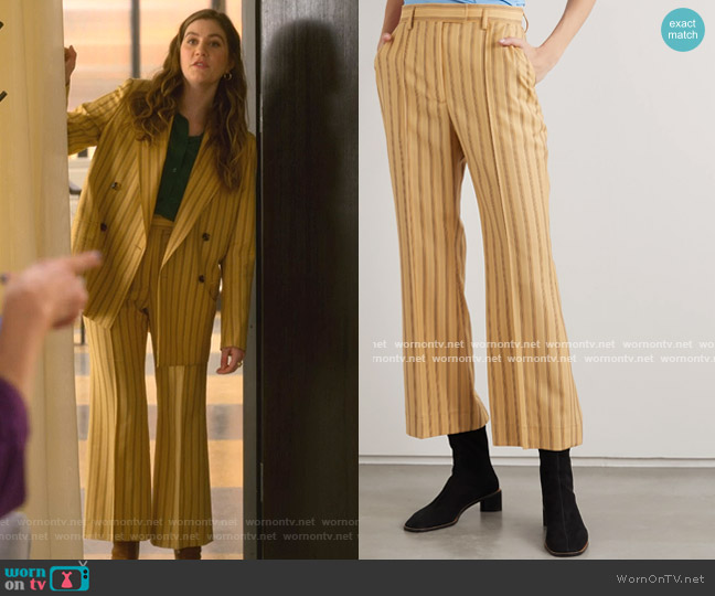 Patrina Pinstripe Trousers by Acne Studios worn by McAfee (Laura Dreyfuss) on The Politician