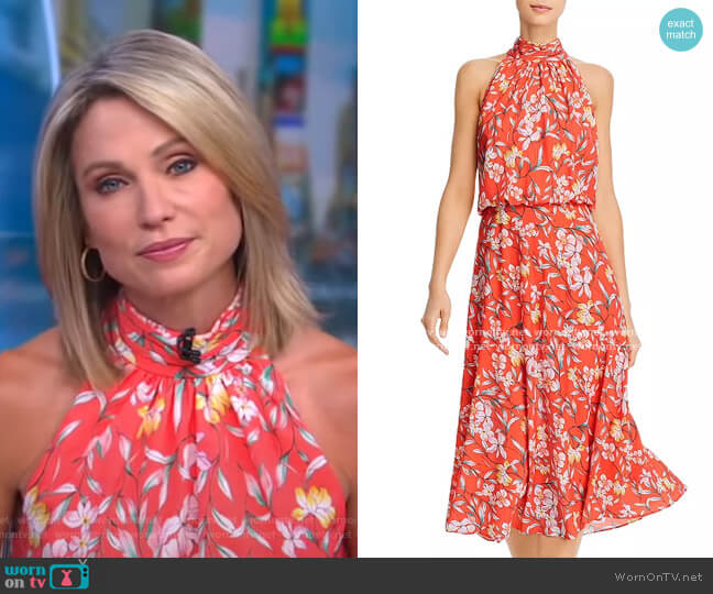 Tea Time Floral Print Midi Dress by Adrianna Papell worn by Amy Robach  on Good Morning America