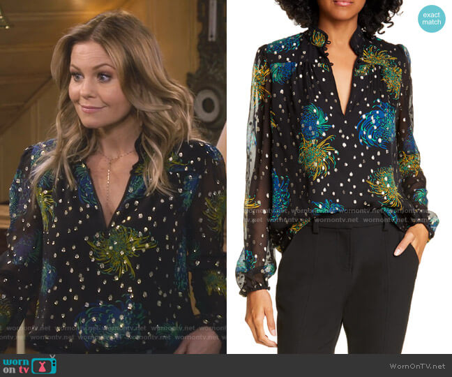 Beatrix Floral Metallic Dot Silk Blouse by A.L.C. worn by DJ Tanner-Fuller (Candace Cameron Bure) on Fuller House