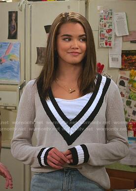 Alexa's grey varsity sweater on Alexa & Katie