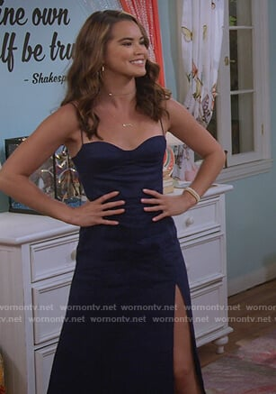 Alexa's navy slit dress on Alexa & Katie