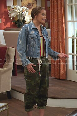 Alexia's denim jacket and camo pants on Alexa & Katie