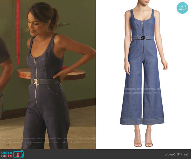 Bristol Sleeveless Denim Jumpsuit by Alexis worn by Noa Hamilton (Nathalie Kelley) on The Baker & the Beauty