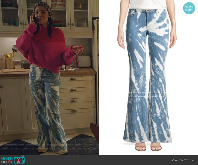 Beautiful Low-Rise Tie-Dye Bell Bottom Jeans by Alice + Olivia Jeans worn by Kat Edison (Aisha Dee) on The Bold Type