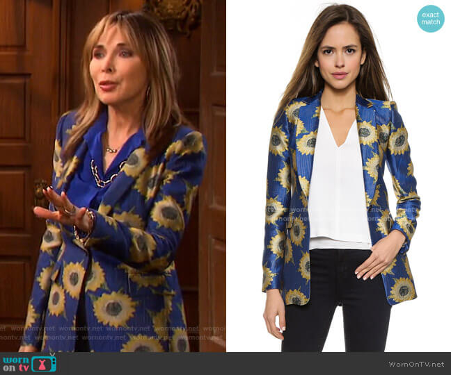 Sunnie Long Blazer by Alice + Olivia worn by Kate Roberts (Lauren Koslow) on Days of our Lives