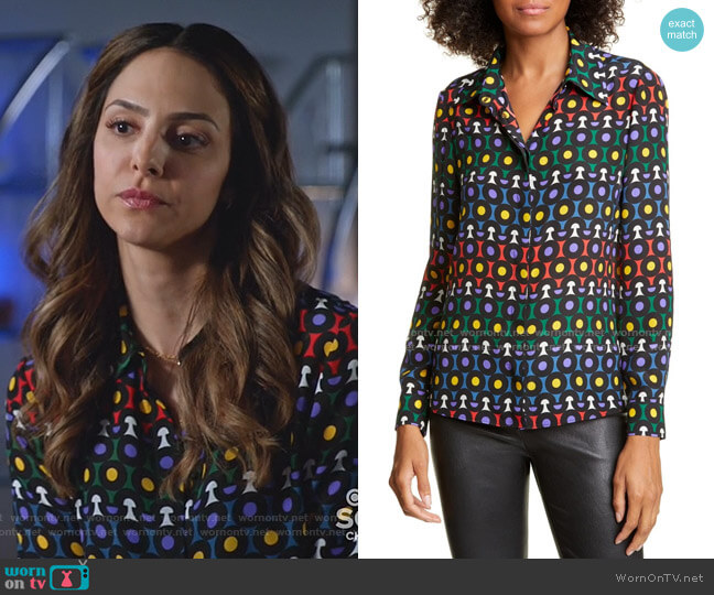 Willa Printed Blouse by Alice + Olivia worn by Zari Tomaz (Tala Ashe) on Legends of Tomorrow