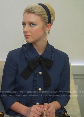 Alice's navy ruffle tie blouse on The Politician