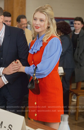 Alice's red button front dress and blue blouse on The Politician
