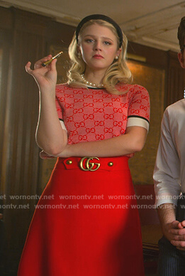 Alice's red Gucci gg sweater and skirt on The Politician