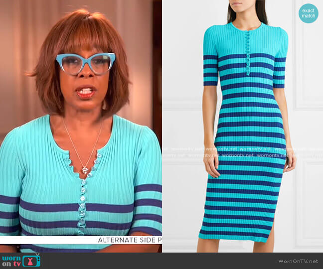 Sunday Striped Ribbed Stretch-Knit Dress by Altuzarra worn by Gayle King  on CBS This Morning