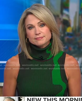 Amy's green ribbed turtleneck dress on Good Morning America