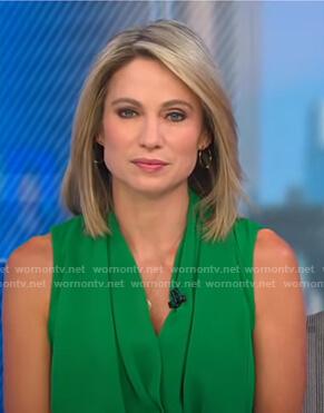 Amy's green sleeveless wrap top on Good Morning America