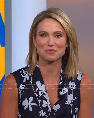 Amy's navy floral wrap dress on Good Morning America