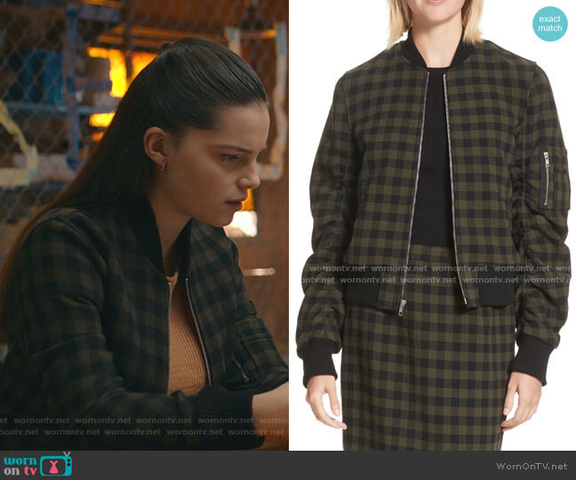 Andrew Wool Bomber Jacket by A.L.C. worn by Inde Navarrette on 13 Reasons Why