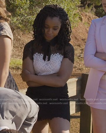 Ani's black and white lace tie neck dress on 13 Reasons Why
