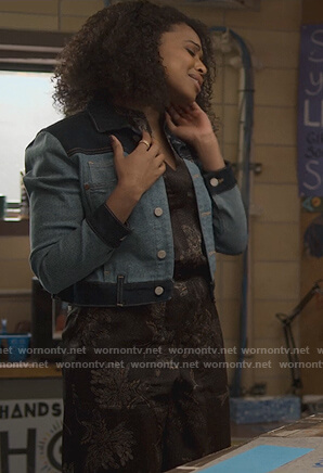 Ani's black floral jumpsuit on 13 Reasons Why