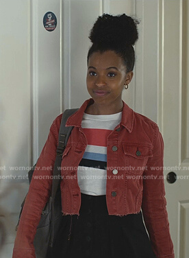 Ani's red cropped denim jacket on 13 Reasons Why