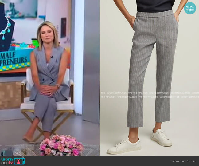 Pull-On Trouser in Linen by Argent worn by Amy Robach  on Good Morning America