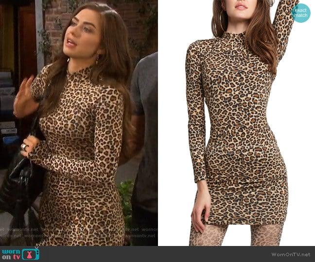 Leopard Long Sleeve Body-Con Minidress by Bardot worn by Ciara Brady (Victoria Konefal) on Days of our Lives