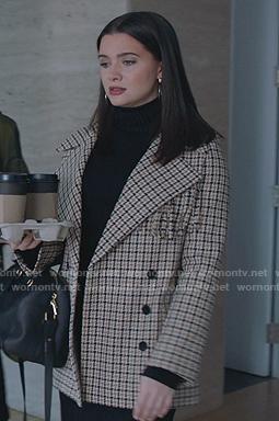 Jane's beige fringed plaid coat on The Bold Type