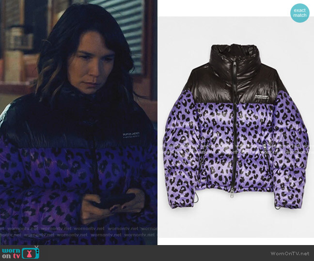 Leopard Puffer Jacket by Bershka worn by Darby (Anna Kendrick) on Love Life