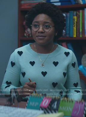 Beth's blue heart print sweater on Stargirl