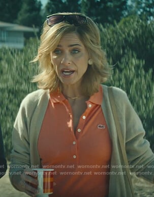Betty's orange polo shirt on Dirty John