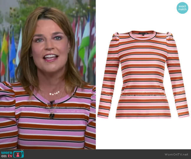 Britney Striped Puff-Sleeve Top by Veronica Beard worn by Savannah Guthrie  on Today