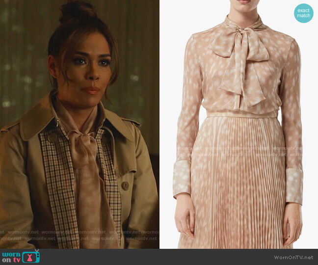 Deer Print Pussybow Blouse by Burberry worn by Cristal Jennings (Daniella Alonso) on Dynasty