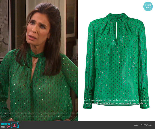 Cabri Printed Blouse by Ba&sh worn by Hope Williams (Kristian Alfonso) on Days of our Lives