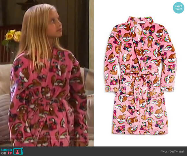 Sloth Print Robe by Candy Pink worn by Sydney Brower on Days of our Lives