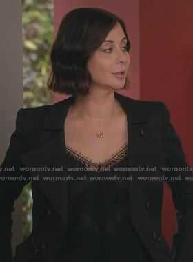 Cassie's black lace-trim camisole on Good Witch