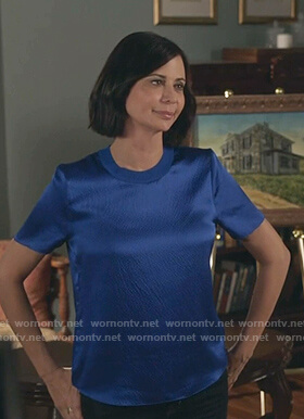 Cassie's blue satin tee on Good Witch