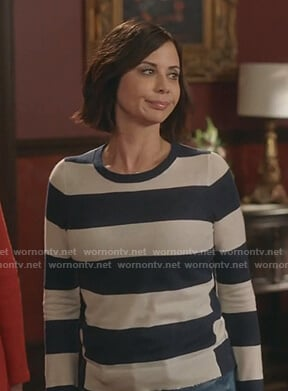 Cassie's white and navy striped sweater on Good Witch