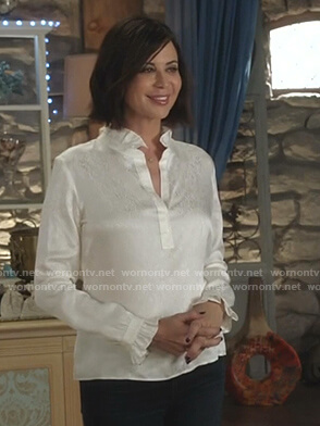 Cassie's white ruffle blouse on Good Witch